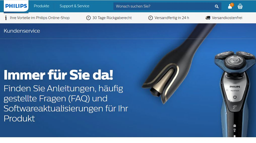 Support-Webseite von Philipps